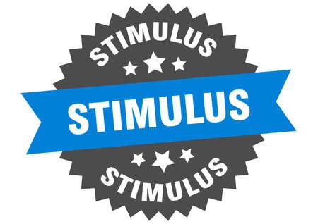 stimulus round isolated ribbon label. stimulus sign  イラスト・ベクター素材