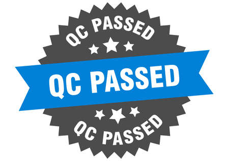 qc passed round isolated ribbon label. qc passed sign