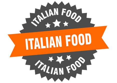 italian food round isolated ribbon label. italian food sign