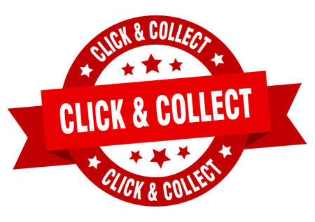 click & collect round ribbon isolated label. click & collect sign
