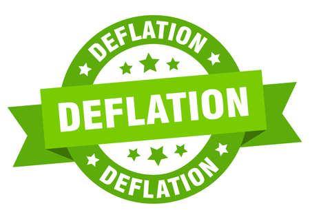 deflation round ribbon isolated label. deflation sign Vetores