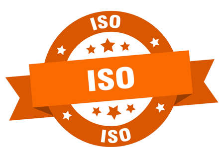 iso round ribbon isolated label. iso sign Vettoriali