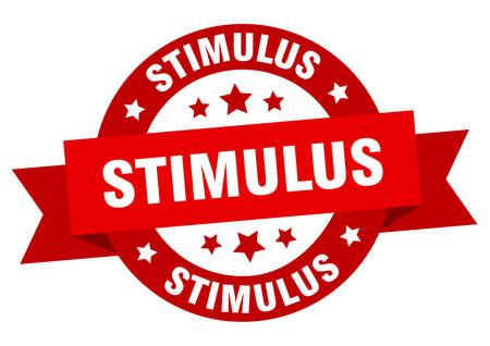stimulus round ribbon isolated label. stimulus sign