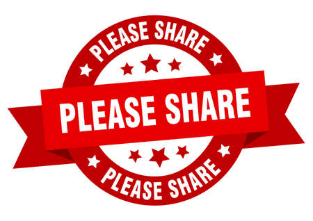 please share round ribbon isolated label. please share sign Vetores