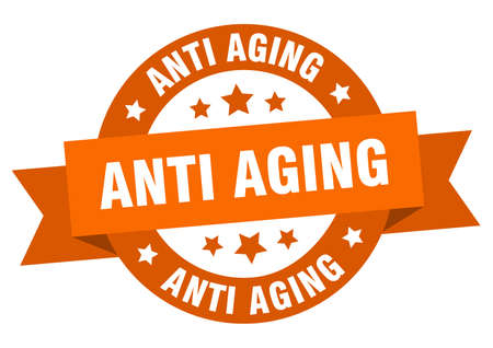anti aging round ribbon isolated label. anti aging sign Vettoriali