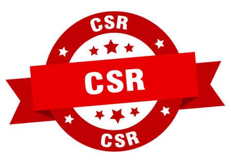 csr round ribbon isolated label. csr sign