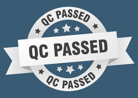 qc passed round ribbon isolated label. qc passed sign