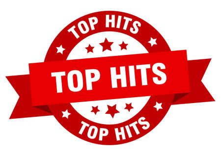 top hits round ribbon isolated label. top hits sign