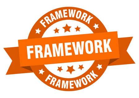 framework round ribbon isolated label. framework sign