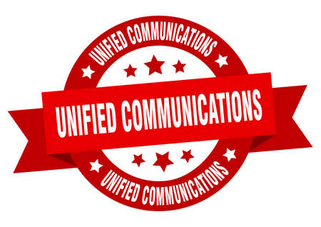 unified communications round ribbon isolated label. unified communications sign