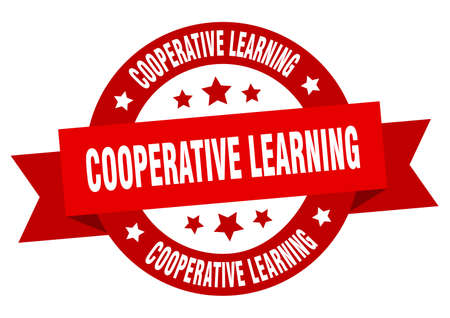 cooperative learning round ribbon isolated label. cooperative learning sign