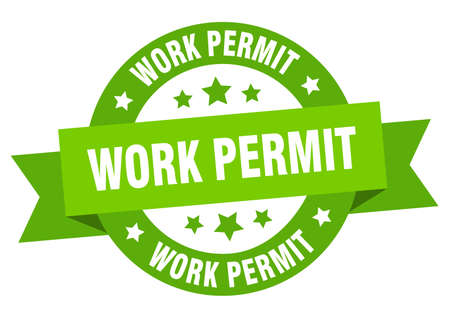 work permit round ribbon isolated label. work permit sign