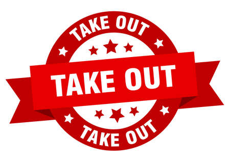take out round ribbon isolated label. take out sign