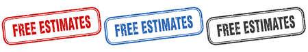 free estimates square isolated sign set. free estimates stamp