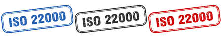 iso 22000 square isolated sign set. iso 22000 stamp Vettoriali
