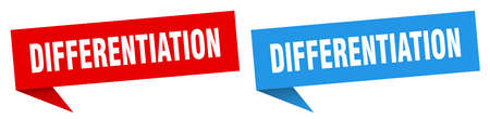 differentiation banner sign. differentiation speech bubble label set