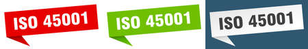 iso 45001 banner sign. iso 45001 speech bubble label set