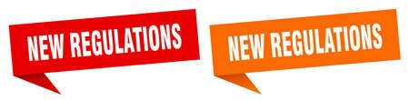 new regulations banner sign. new regulations speech bubble label set