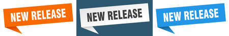 new release banner sign. new release speech bubble label set