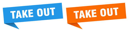 take out banner sign. take out speech bubble label set