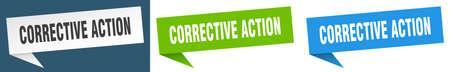 corrective action banner sign. corrective action speech bubble label set Vector Illustration