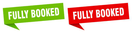 fully booked banner sign. fully booked speech bubble label set