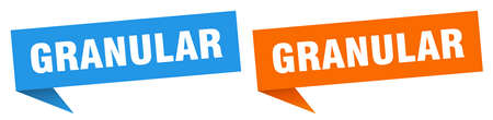 granular banner sign. granular speech bubble label set