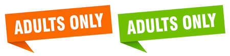 adults only banner sign. adults only speech bubble label set