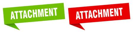 attachment banner sign. attachment speech bubble label set