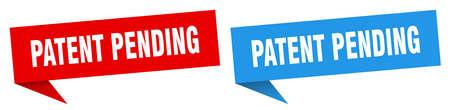 patent pending banner sign. patent pending speech bubble label set Vectores