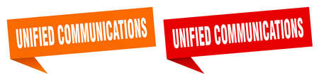 unified communications banner sign. unified communications speech bubble label set