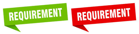 requirement banner sign. requirement speech bubble label set Vettoriali