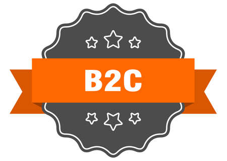 b2c label. b2c isolated seal. Retro sticker sign