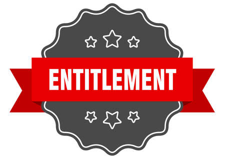entitlement label. entitlement isolated seal. Retro sticker sign