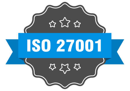 iso 27001 label. iso 27001 isolated seal. Retro sticker sign