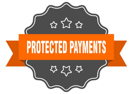protected payments label. protected payments isolated seal. Retro sticker sign