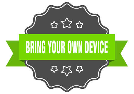 bring your own device label. bring your own device isolated seal. Retro sticker sign