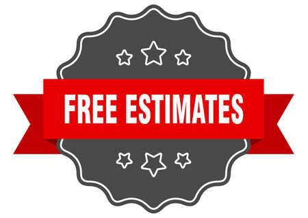 free estimates label. free estimates isolated seal. Retro sticker sign