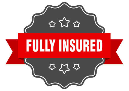 fully insured label. fully insured isolated seal. Retro sticker sign