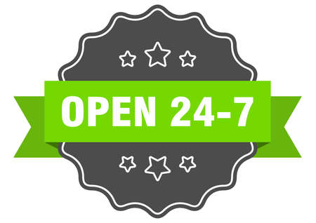 open 24 7 label. open 24 7 isolated seal. Retro sticker sign