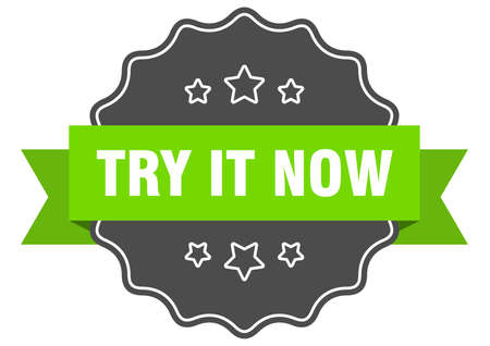 try it now label. try it now isolated seal. Retro sticker sign