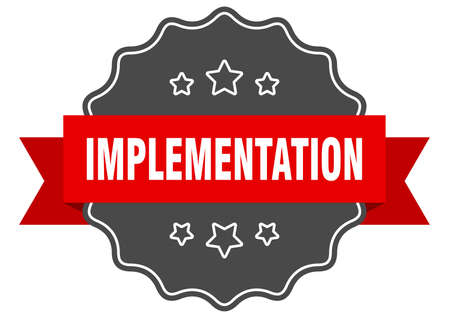 implementation label. implementation isolated seal. Retro sticker sign