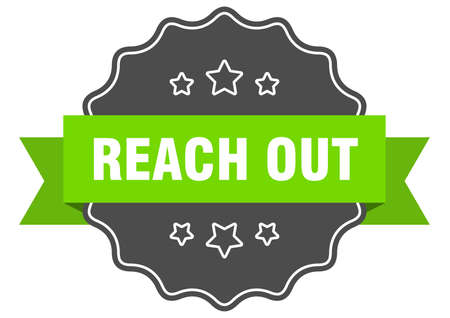 reach out label. reach out isolated seal. Retro sticker sign