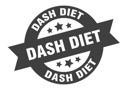 dash diet sign. round isolated sticker. ribbon tag