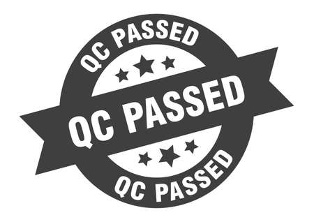 qc passed sign. round isolated sticker. ribbon tag