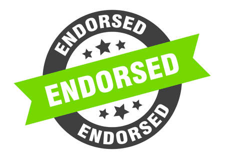 endorsed sign. round isolated sticker. ribbon tag Illusztráció