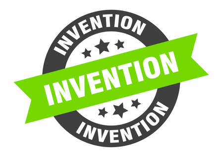 invention sign. round isolated sticker. ribbon tag Stock fotó - 154542522