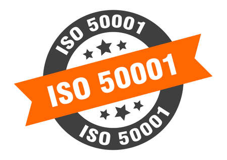 iso 50001 sign. round isolated sticker. ribbon tag Stock fotó - 154542524