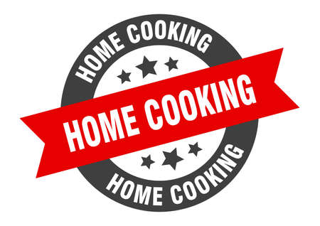 home cooking sign. round isolated sticker. ribbon tag Illusztráció