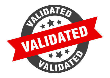 validated sign. round isolated sticker. ribbon tag Stock fotó - 154542533